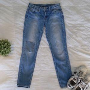 Levi's knee patch demi curve mid rise blue jeans
